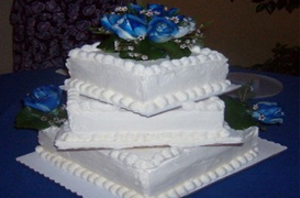 wedding cake with white icing